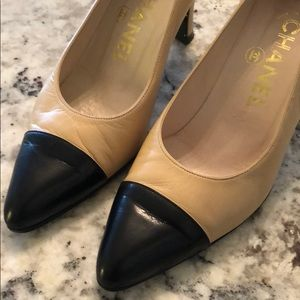 d719cdb182a Authentic CHANEL two tone tan and black high heels